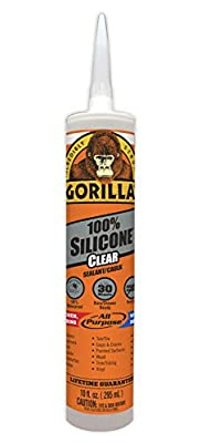 Gorilla Clear 100 Percent Silicone Sealant Caulk, Waterproof and Mold & Mildew Resistant, 10 ounce Cartridge, Clear