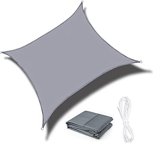 QINZC Toldo De Vela Solar Impermeables Exterior Toldo Vela Parasol Cuadrado 3.6x3.6m ProteccióN Rayos UV Transpirable para Patio JardíN Terraza BalcóN,Gris