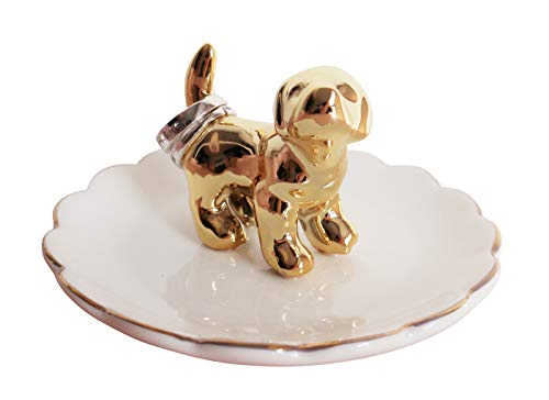Luxury Porcelain Adorable Dog Ring Holder, Ceramic Jewelry Tray, Bracelets Plate, Dessert Dish -...