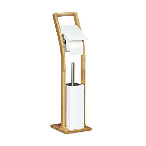 Relaxdays Stand Wc Garnitur Holz Hbt 75 X 19 X 19 Cm Toilettenbürstenhalter Aus Bambus Mit Toilettenpapierhalter Und Klobürste Als Klorollenhalter