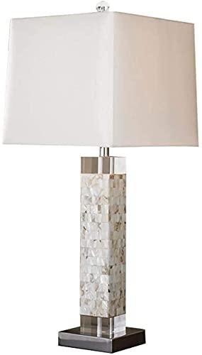 CMMT Lámpara de Mesa Lámpara de Mesa LED de Concha de mar Elegante Minimalista Europea Moderna, luz de Noche LED de Shell y decoración de lámpara Exquisita Hecha de Conchas de mar y lámparas de Tela,