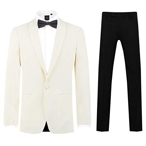 Dobell Herren Smoking-Anzug Weiß Zweiteilig Schalkragen Schwarzer Hose (46 Jackett mit 46 Hosen)