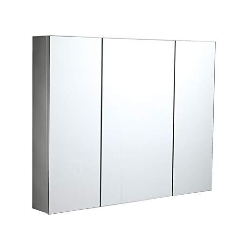 Armario de almacenamiento Gabinete de espejo de baño de acero inoxidable con gabinete de espejo de espejo con gabinete de almacenamiento de estante ajustable Cuarto de baño montado en la pared