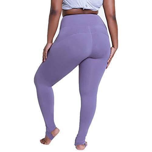 Stora yoga byxor, kvinnors högmotor hiplyftande sportbyxor, steg-on design/fukt wicking, lämplig för yoga pilates dans,4XL