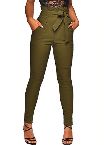 Ohvera Women's All Occasions Paper Bag Waist Pants Trousers with Tie Pockets Army Green Large