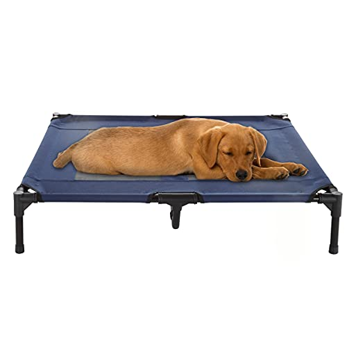 Elevated Dog Bed – 36x29.75 Portable Bed for Pets with Non-Slip Feet – Indoor/Outdoor Dog Cot or Puppy Bed for Pets up to 80lbs by Petmaker (Blue)