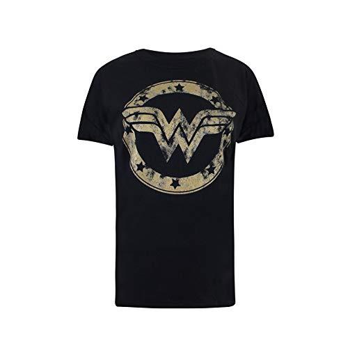 DC Comics Wonder Woman Metallic Logo Camiseta, Negro (Black Blk), 38 (Talla del Fabricante: Small) para Mujer