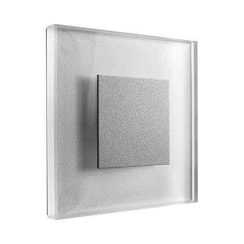 SET LED Treppenbeleuchtung Premium SunLED Large Warmweiß 230V 1W Echtes Glas Treppenlicht mit Unterputzdose Treppen-Stufen-Beleuchtung Wandeinbauleuchte (ALU: Silbergrau; LICHT: Warmweiß, 7 Stück)