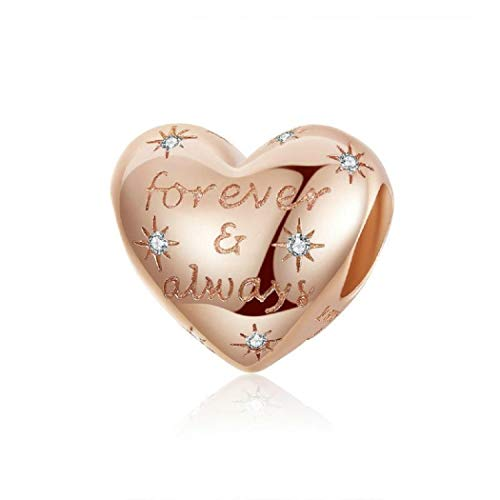 FeatherWish Forever And Always Love Heart Rose Gold 925 Sterling Silver Bead Charms With Cubic Zirconia Compatible With Pandora Bracelet European 3mm Charm Bracelets And Necklace