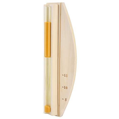 HelloCreate Temporizador de arena de 15 minutos montado en la pared de cristal de madera para la sala de la sauna