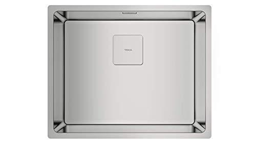 Teka 115000012 Fregadero de Cocina de Acero Inoxidable con un Cuenco Individual FLEXLINEA RS15 50.40 31⁄2 SQ W/OVF SP-115000012, gris