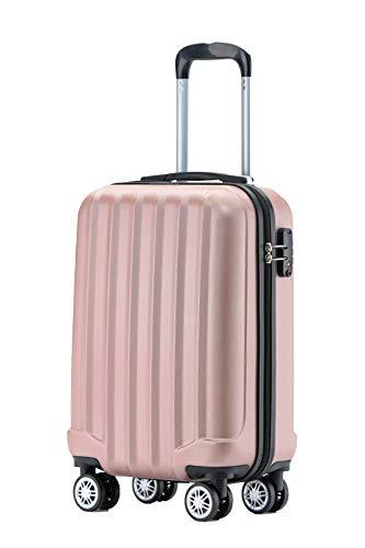BEIBYE TSA-Schloß 2080 Hangepäck Zwillingsrollen neu Reisekoffer Koffer Trolley Hartschale Set-XL-L-M(Boardcase) (Rosa Gold, M)