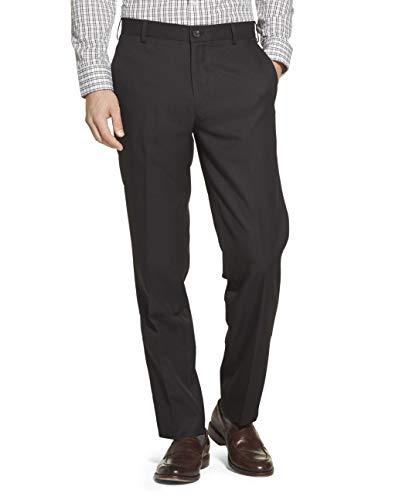 IZOD Men's Flat Front Straight Fit Solid Dress Pant, Black, 32W x 32L