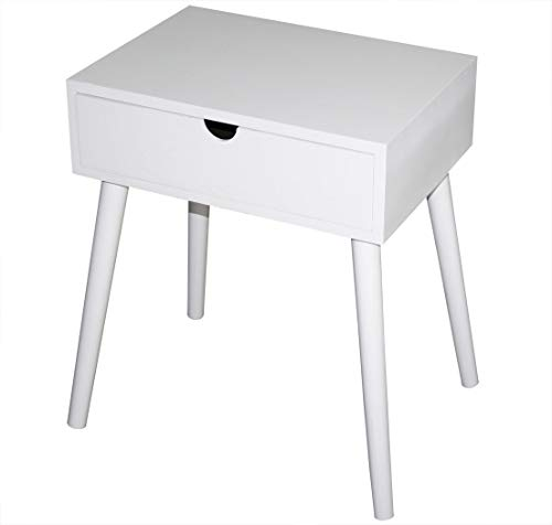 KMH, Beistelltisch/Nachttisch Mango weiß mit Schublade in modernem, skandinavischem Design...