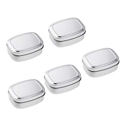 B Blesiya 5 Stück Kleine Metalldose Tabakdose Pillendose Seifendosen Blechdose mit Scharnier Deckel, Silber