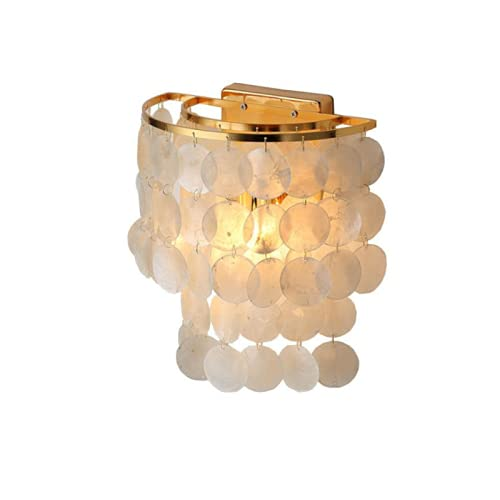 CHENXTT - Lámpara de noche nórdica, cálida para niña, habitación simple, concha creativa, allace rojo, decorativo, aplique de pared, salón, 110 V, sin fuente de luz, pompón amarillo cremoso