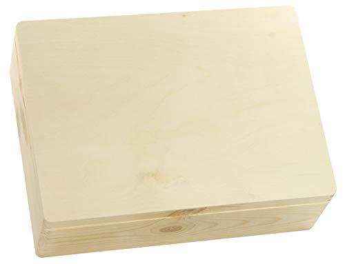 LAUBLUST Holzkiste Groß mit Deckel - 40x30x14cm, Natur, FSC® | Universal-Kiste aus Holz - Aufbewahrungskiste | Geschenk-Verpackung | Deko-Kasten zum Basteln | Spielzeug-Truhe | Erinnerungsbox