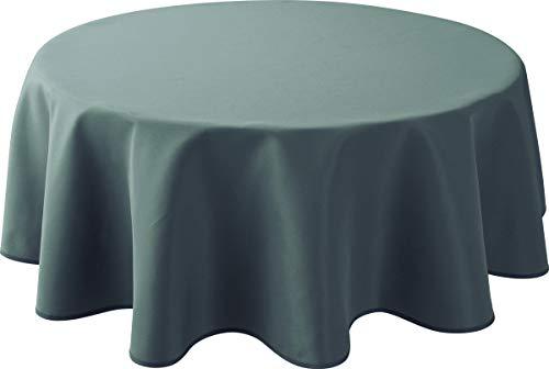 Le linge de Jules Nappe Anti-Taches Uni Gris - Taille : Ronde diamètre 160 cm