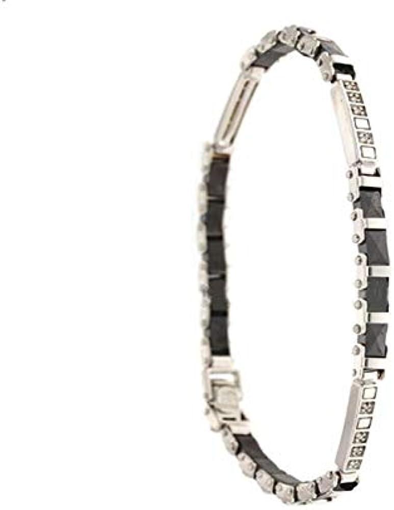 Gioielleria momenti preziosi bracciale da uomo in oro bianco 18kt 750/1000 con diamanti e zirconi neri 21726032