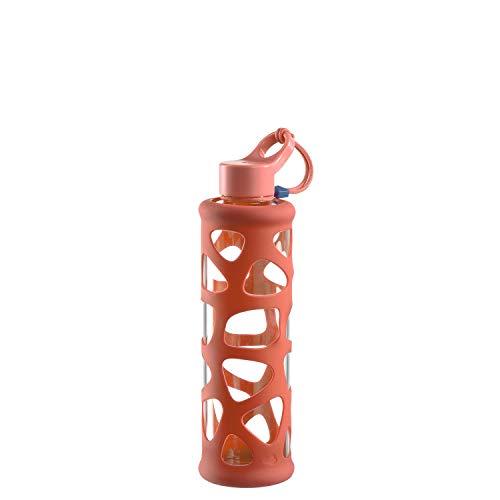 Leonardo 029233 In Giro Gourde en verre borosilicate 500 ml Étui de protection résistant au lave-vaisselle Orange