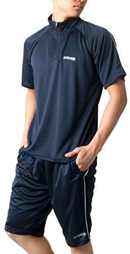 [ケイパ] ランニングウェア ジャージ メンズ 上下セット Tシャツ ボトム ショートパンツ ネイビー LL