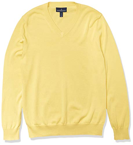 Amazon Brand - Buttoned Down Men's 100% Supima Cotton V-Neck Sweater, Yellow, Large