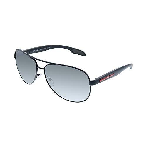 Prada Linea Rossa Lifestyle PS 53PS 1BO7W1 Black Demishiny Metal Aviator Sunglasses Grey Mirror Lens