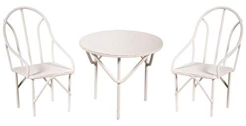 Rayher 46066102 Sitzgruppe 3 teilig, 2 Stühle Plus 1 Tisch, 1 Set, Draht, weiß, 18 x 13 x 5.8 cm