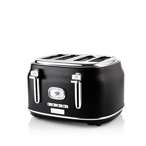 Westinghouse Retro Toaster 4 Scheiben - 4er Toaster mit Brötchenaufsatz, Krümelschale & weiteren Features, ideal als Familientoaster, Farbe: Schwarz (matt)