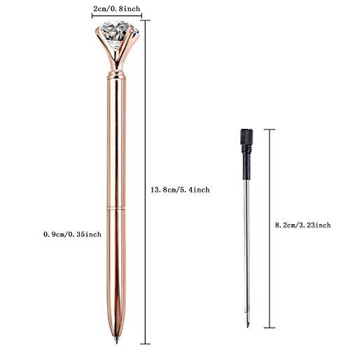 ZZTX 8 PCS Rose Gold Big Crystal Diamond Ballpoint Pen Bling Metal Ballpoint Pen Office Supplies Gift Pens For Christmas Wedding Birthday, Includes 8 Pen Refills Photo #2