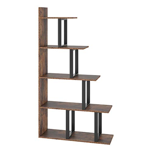 Homfa Wooden 5-Tier Bookshelf, Industrial Vintage Freestanding Bookcase 63Hx11.8Wx34.6L inch Multipurpose Storage Display Rack, Wood Look Accent Metal Organizer Frame for Living Room Home Office