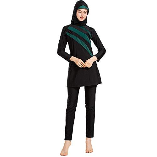 Grsafety Damen Muslimischen Badeanzug - Full Cover Bademode Bescheidene Badebekleidung Swimwear Burkini Frauen, Schwarz-Grün, 6XL