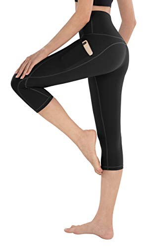LifeSky Capri Yoga Pants with Pockets, High Waisted Tummy Control Leggings 4 Way Stretch Workout Pants, M