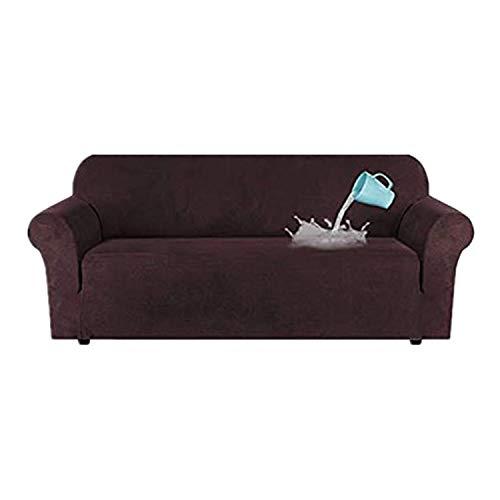TIUTIU High Stretch Velvet Plüsch Sofabezug Wasserabweisende Möbel Protector Wildleder Couch Covers, 1-4 Sitz Sofa Easy Fit Elastic Fabric Sofa Protector (Brown,4 Seater:228-292cm)