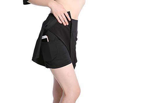 Annjoli Damen Athletic Skorts Rock für Tennis, Golf, Laufen, Workout, Sport, Fitnessstudio, mit Taschen - Schwarz - Mittel