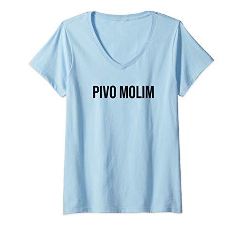 Damen (Ein) Bier bitte auf Kroatisch Kroatien Bier T-Shirt mit V-Ausschnitt