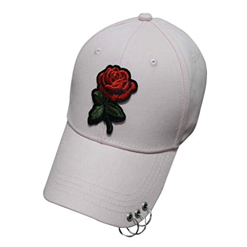 AIni Mehrfarbig Mode Baumwolle Hüte Hip Hop Caps Chic Besticken Brief Sport Schirmmütze Rot Rose Stickerei Basecap Drei Ring Baseballmütze für Männer und Frauen