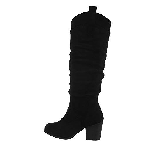 Ital Design - Botas de tacón alto para mujer, color Negro, talla 38 EU
