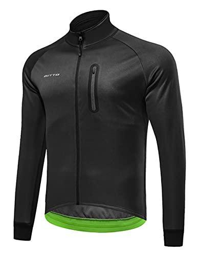 Jueshanzj Ciclismo ropa de los hombres de lana invierno más terciopelo para hombre al aire libre parabrisas caliente manga larga ciclismo camisa hombre, Negro, XL