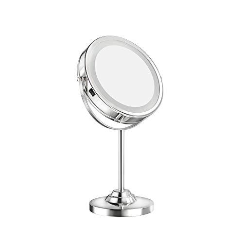 welmax Kosmetikspiegel mit Licht 1x / 7X Vergrößerung Schminkspiegel mit LED Beleuchtung 360° Schwenkbar Doppelseite Spiegel Batterie Tischspiegel Make-Up-Spiegel mit Blendfreier Beleuchtet Verchromt