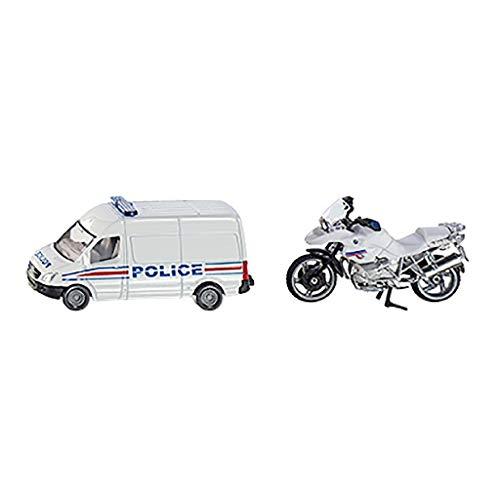 siku 1655001, Polizei-Set Frankreich, Metall/Kunststoff, weiß, Spielkombination, mit Anhängerkupplung