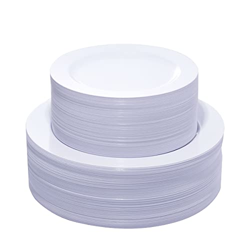 KIRE 120PCS White Plastic Plates - Heavy Duty White Disposable Plates for Party/Wedding - Include 60Pieces 10.25inch White Dinner Plates - 60Pieces 7.5inch White Dessert/Salad Plates