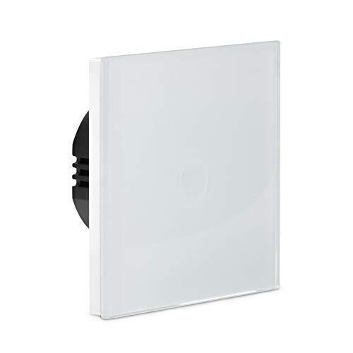 Navaris Interruptor táctil de pared - Llave de luz con pantalla táctil - Conmutador de cristal con sensor al tacto - Pulsador de vidrio color blanco