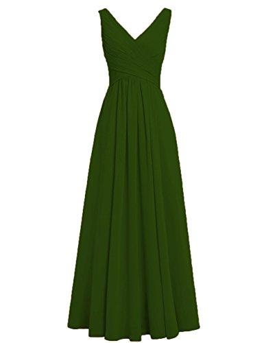 HUINI Brautjungfernkleider Rückenfrei Lang V-Ausschnitt Chiffon A-Linie Abendkleider Ballkleider Festliche Kleider Hochzeit Olivgrün 36