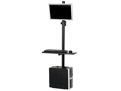 Black Sentry Floor Mount Computer Workstation - Adjustable Pole-Mounted Desk with Keyboard Tray, Monitor Mount and CPU Holder