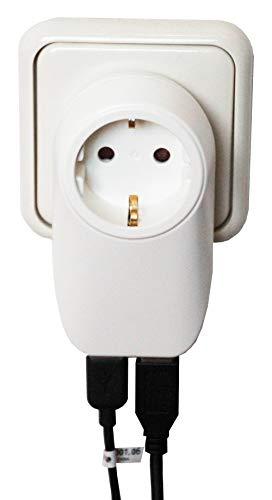 USB Netzteil Zwischenstecker 2x USB Steckdose Ladegerät Anschluß mit Kindersicherung