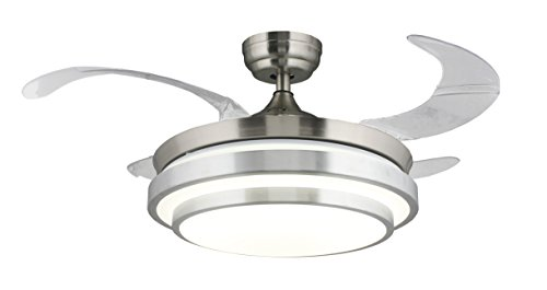 """36"""" Ceiling Fan LED Light Kit Remote Control Four Retractable Invisible Blade for Dining Room Fan Chandelier Ceiling Lamp for Restaurant, Study Room, Living Room, Bed Room (Chrome) (No dimmable)"""