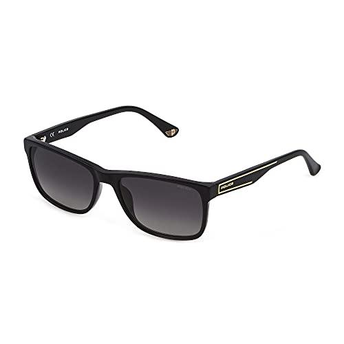 Police Gafas de sol Arcade 2 SPLB40N 700P 56 – 17 – 140 Unisex negro brillante lentes ahumadas polarizadas