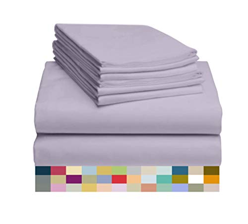 LuxClub 6 PC Sheet Set Bamboo Sheets Deep Pockets 18' Eco Friendly Wrinkle Free Sheets Machine Washable Hotel Bedding Silky Soft - Lavender Queen