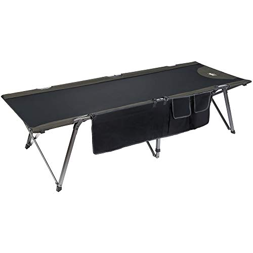 Timber Ridge Utility Folding XL Camping Cot Portable Deluxe Bed with Carry Bag, Black